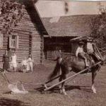 Лучший пахарь Борзова Баландин Алексей Васильевич с семьёй. За плугом он сам, на лошади его сын Юлий. 26 мая 1934 года..